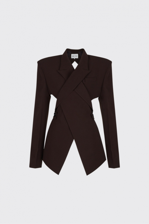 [Sold-out]Dark brown overlapped lapel collar open-back blazer
