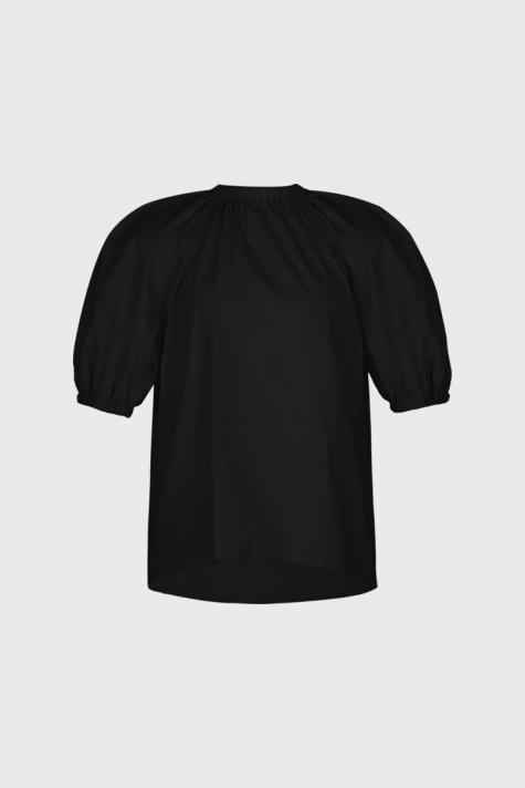 [50% OFF] Black ruched neck volume blouse