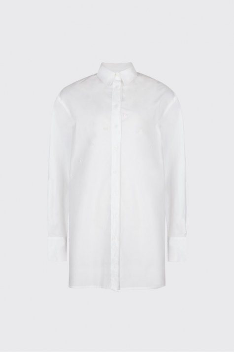 [Sold-out]White overlapped double plackets shirt