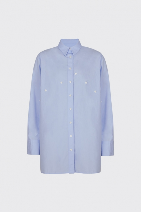 [Sold-out]Light blue overlapped double plackets shirt