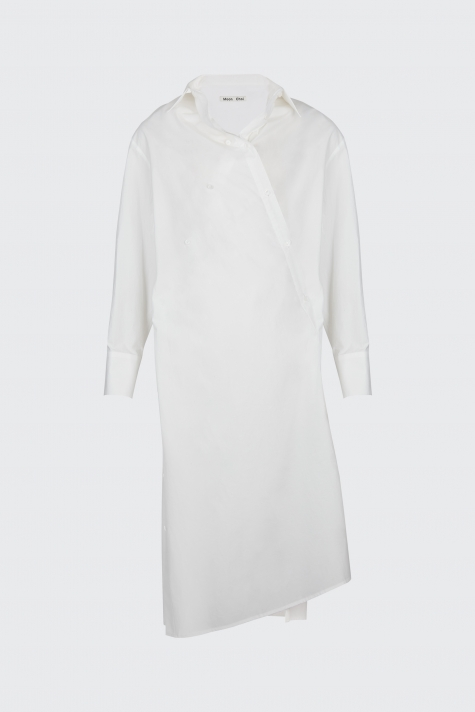 [55% OFF]White overlapped shirt dress