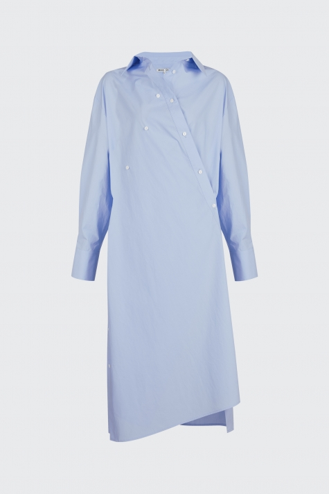 [55% OFF]Light blue overlapped shirt dress