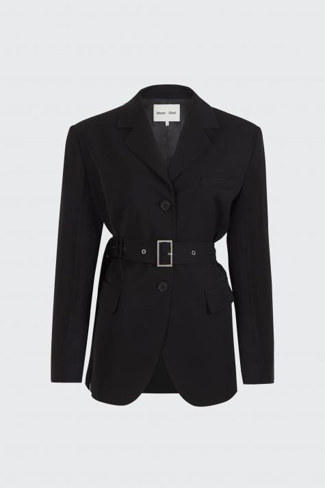 [55% OFF]Black center back slit 2-way blazer