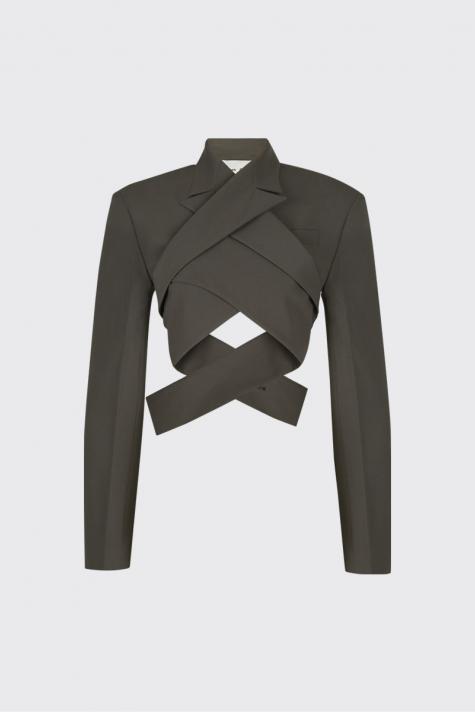 [3rd Restock] Taupe overlapped lapel collar short blazer